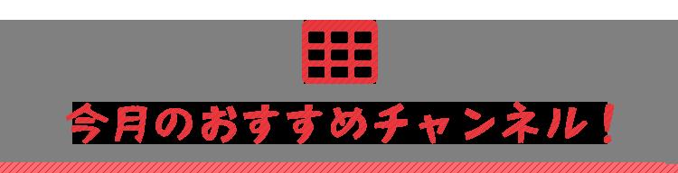 今月のおすすめチャンネル!